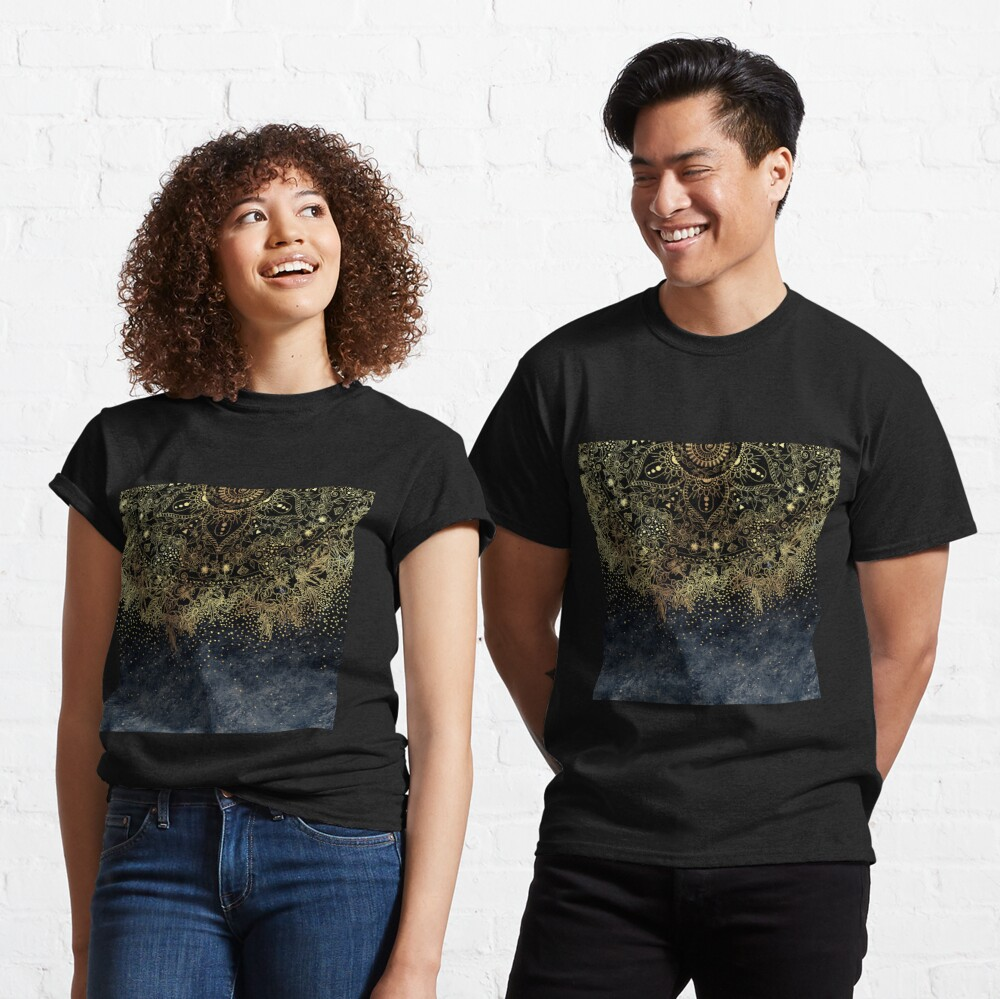 Stylish Gold floral mandala and confetti  Classic T-Shirt