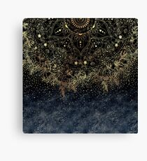 Stylish Gold floral mandala and confetti  Canvas Print