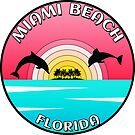 Miami Beach Florida Dolphin Palm Trees Laptop by MyHandmadeSigns