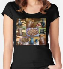 Сoncept collage with different coffee theme images. Women's Fitted Scoop T-Shirt