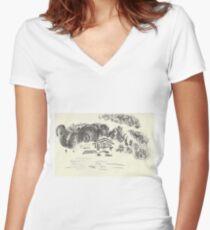 Poetic Brussels: Bois de La Cambre Women's Fitted V-Neck T-Shirt