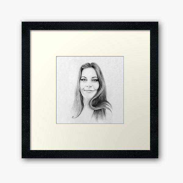 Floor Jansen Pencil Portrait. Framed Art Print