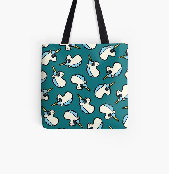 Unicorns Are Cool Pattern - Blue All Over Print Tote Bag