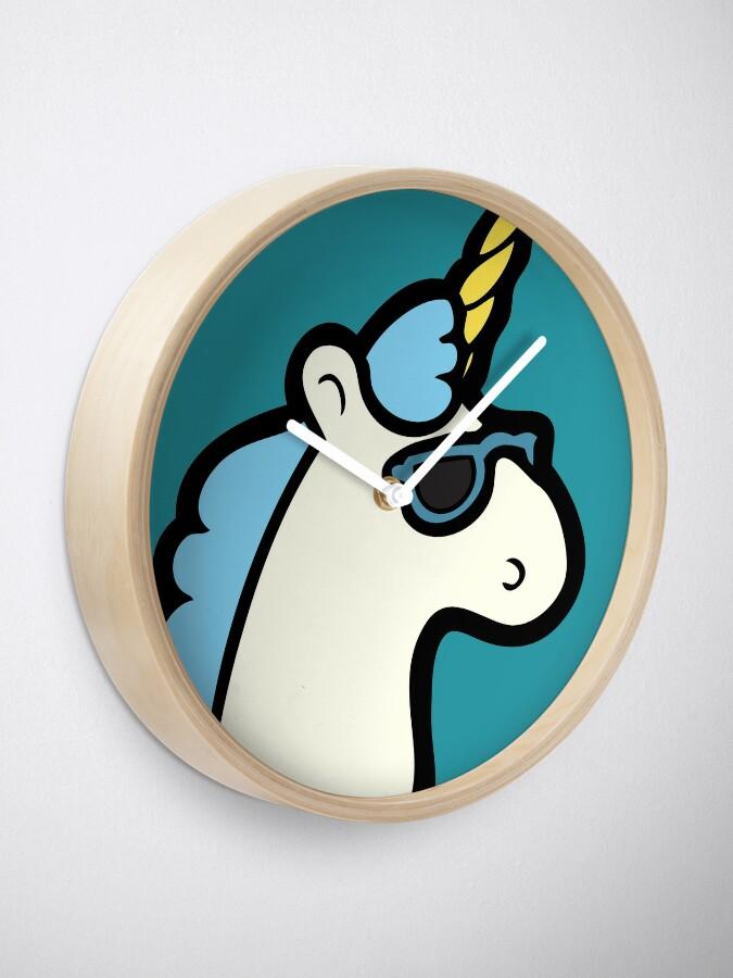 Alternate view of Unicorns Are Cool Pattern - Blue Clock