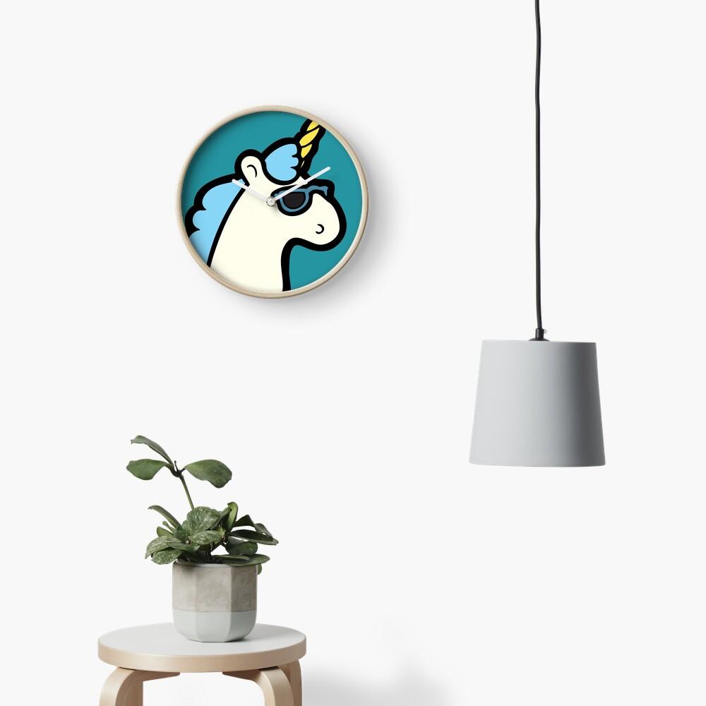 Unicorns Are Cool Pattern - Blue Clock