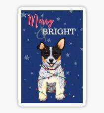 Cattle Dog, Blue Heeler (Merry & Bright), by Artwork by AK Sticker