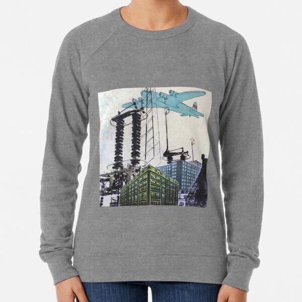 Airplane over city Lightweight Sweatshirt