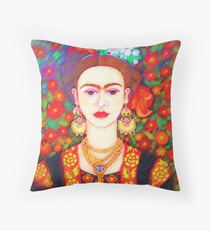 My other Frida Kahlo with butterflies  Throw Pillow