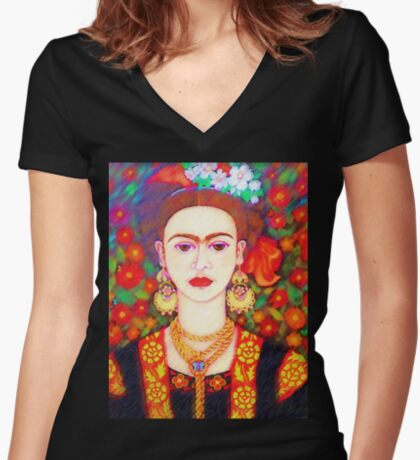 My other Frida Kahlo with butterflies  Women's Fitted V-Neck T-Shirt