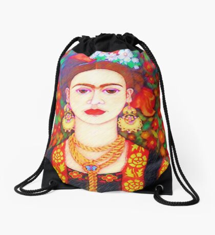 My other Frida Kahlo with butterflies  Drawstring Bag