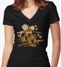 Funky Samurais Women's Fitted V-Neck T-Shirt