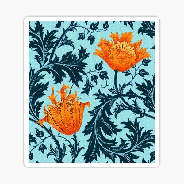 William Morris Anemone, Indigo Blue and Coral Sticker
