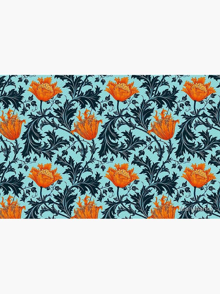 William Morris Anemone, Indigo Blue y Coral de Marymarice