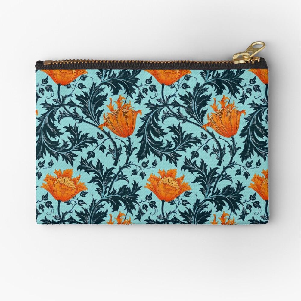 William Morris Anemone, Indigo Blue y Coral Bolsos de mano