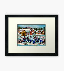 HOCKEY STICKS AT VILLAGE ICE RINK COUNTRY HOCKEY GAME CANADIAN WINTER SCENE PAINTING  Framed Print