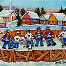 COUNTRY RINK HOCKEY GAME QUEBEC LAURENTIAN VILLAGE SCENE CANADIAN WINTER ART  by Carole  Spandau