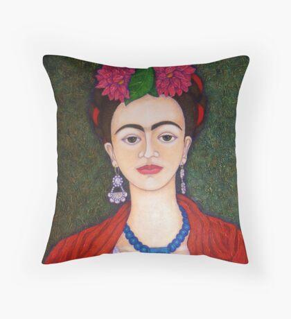 Frida portrait with dalias closer Throw Pillow