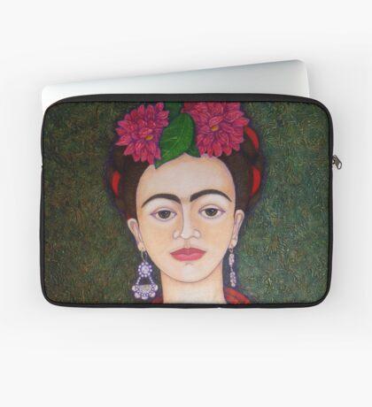 Frida portrait with dalias closer Laptop Sleeve