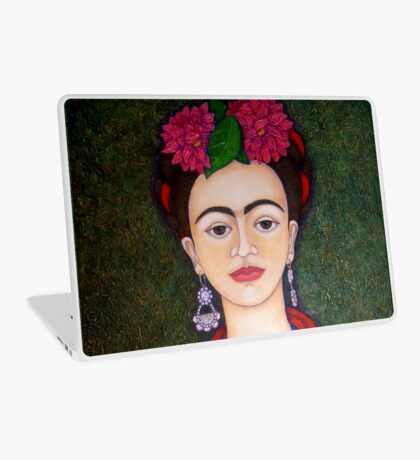 Frida portrait with dalias closer Laptop Skin