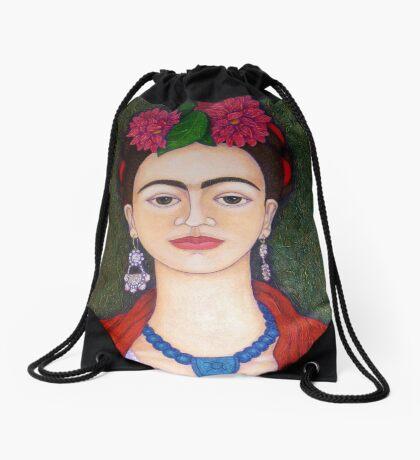 Frida portrait with dalias closer Drawstring Bag
