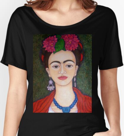 Frida portrait with dalias closer Women's Relaxed Fit T-Shirt