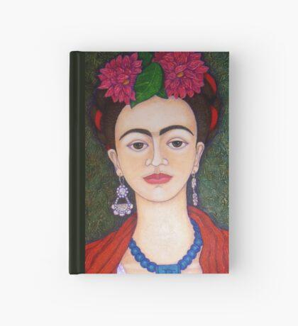 Frida portrait with dalias closer Hardcover Journal