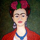 Frida portrait with dalias closer by Madalena Lobao-Tello