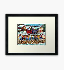 WINTER SCENE OUTDOOR RINK SLEIGH RIDE THROUGH QUEBEC VILLAGE CANADIAN SNOW SCENE Framed Print