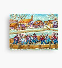 SNOW FALLING ON HOCKEY RINK PAINTING LAURENTIAN VILLAGE SCENE QUEBEC LANDSCAPE ART Canvas Print