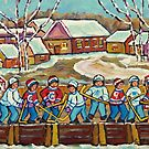 RINK HOCKEY GAME PAINTING BEAUTIFUL WINTER SNOW SCENE QUAINT LAURENTIAN VILLAGE QUEBEC ART by Carole  Spandau