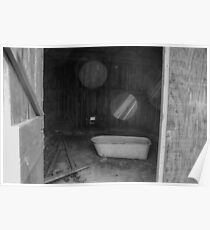Abandoned bathtub in the empty room. Poster