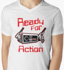 Ready For Action Nintendo Style Men's V-Neck T-Shirt