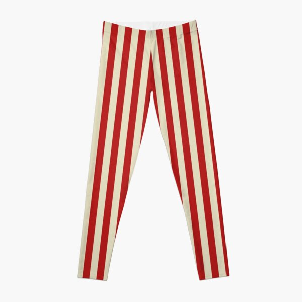 Retro Popcorn Style Vertical Stripes Leggings
