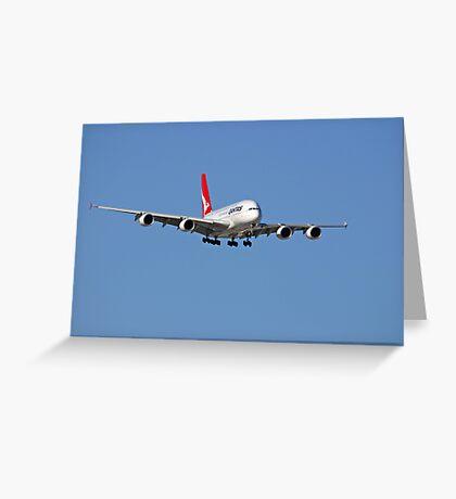 Qantas A380 On Approach  Greeting Card