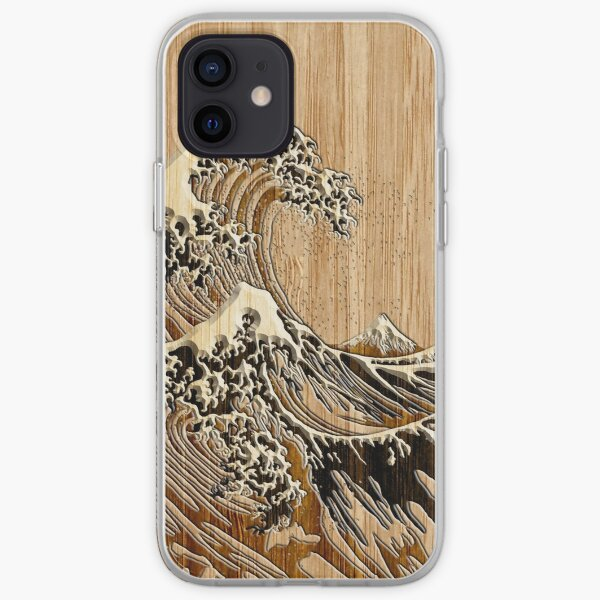 The Great Hokusai Wave in Bamboo Inlay Style iPhone Soft Case