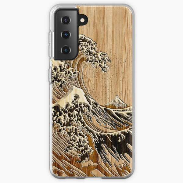 The Great Hokusai Wave in Bamboo Inlay Style Samsung Galaxy Soft Case