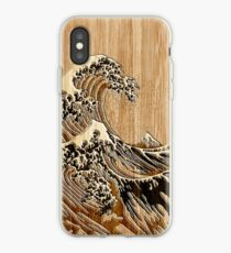 The Great Hokusai Wave in Bamboo Inlay Style iPhone Case