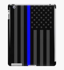 The Symbolic Thin Blue Line on American Flag iPad Case/Skin