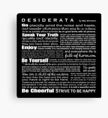 Desiderata - Black Canvas Print
