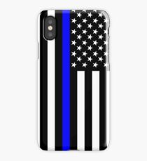 The Symbolic Thin Blue Line on US Flag iPhone Case/Skin
