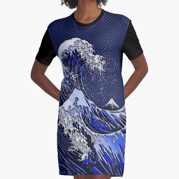 The Great Hokusai Wave chrome carbon fiber styles Graphic T-Shirt Dress