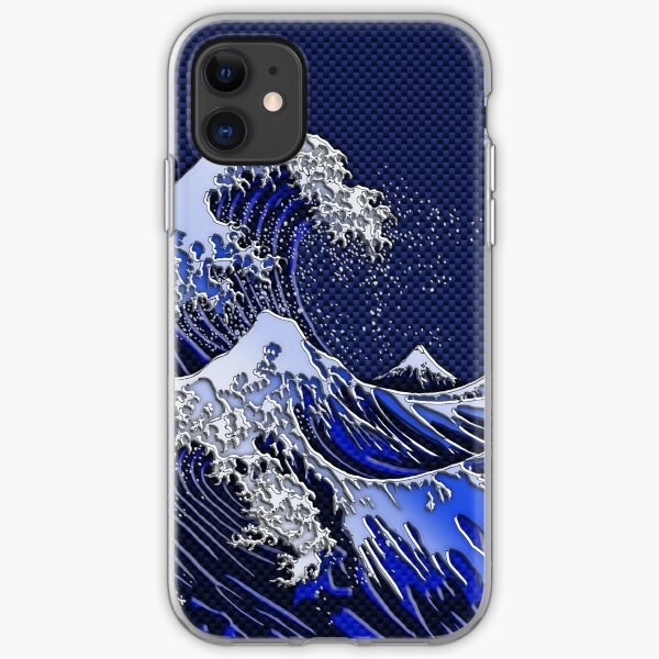 The Great Hokusai Wave chrome carbon fiber styles iPhone Soft Case