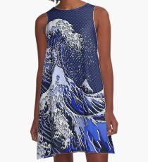 The Great Hokusai Wave chrome carbon fiber styles A-Line Dress