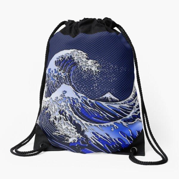 The Great Hokusai Wave chrome carbon fiber styles Drawstring Bag