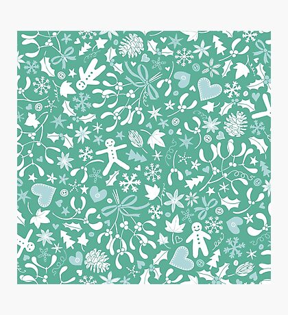 Mistletoe and Gingerbread Ditsy - Ice blue and teal - Christmas Pattern by Cecca Designs Photographic Print