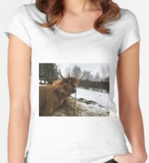 Scottish Highland Cattle Cow and Calf 1290 Women's Fitted Scoop T-Shirt