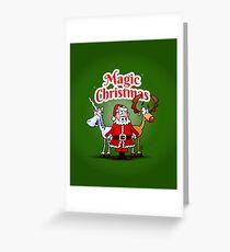 Magic Christmas with a unicorn Greeting Card