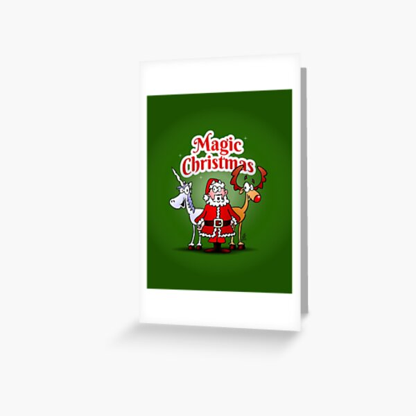 Magic Christmas with a unicorn Greeting Card