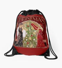FLAPPERS : Vintage Decorating A Christmas Tree Print Drawstring Bag