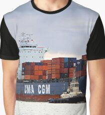 Container cargo ship and tug Graphic T-Shirt